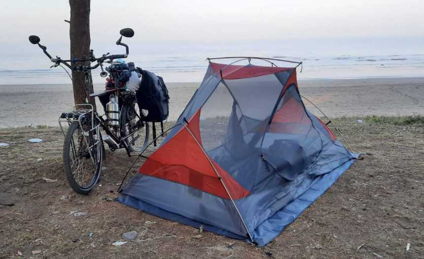 Phiroze Palkhivala's cycle carries the load of a few clothes a tent stove daily provisions to cook a GoPro camera an...