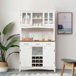 Black Storage Cabinet Sideboard Buffet Cupboard Sliding Glass Door Pantry Kitchenware Kitchen Appliance 2 Shelves Storage Home Restaurant Office Dining Room Use Ample Storage Space Spacious Top Buffets Sideboards Furniture