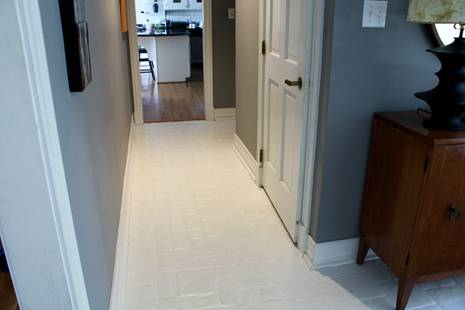 Painted tile floor - after