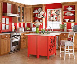 Red kitchen overall