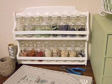 Painted rack with jars of beads