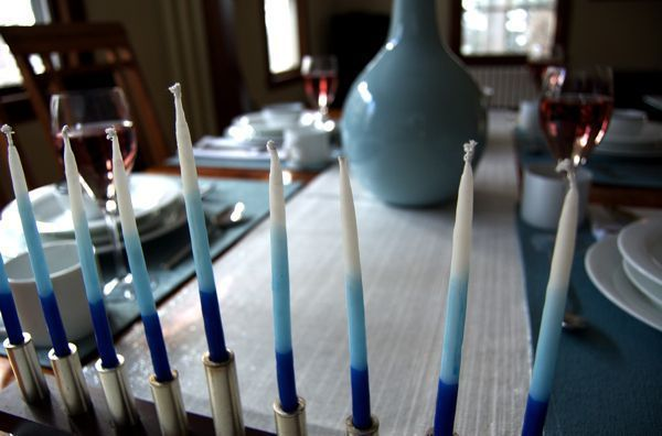 Our Hanukkah table setting.