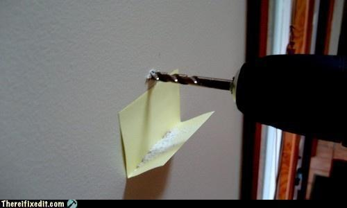 Well That's Just Plain Clever of the Day: Folded sticky note = Instant drill dust caddy. [tifi.]