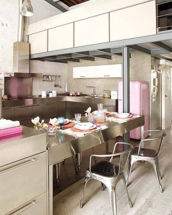 Industrial loft with some splashes of pink