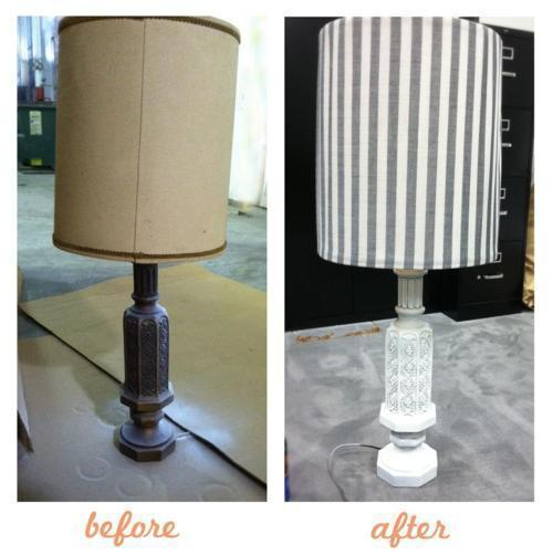 Cheapy lamp makeover. White spray paint (around $4.00) + fabric ($1.50 a yard at Walmart) = Under $6 for the total. And I am sure you can find a lovely lamp like this 70s beauty at any thrift store for cheap cheap as well. We had it at work in an old closet. lol