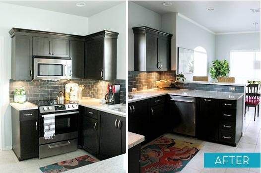 Painting Kitchen Cabinets Step By Cabinet Painted Oak Before After Cream Black