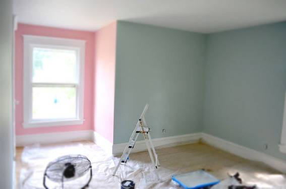 Bedroom with pink and blue/green