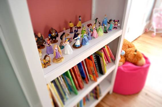 Bookshelves with Disney characters