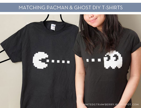 DIY: Pacman + Ghost Couple Shirt with free Stencil!