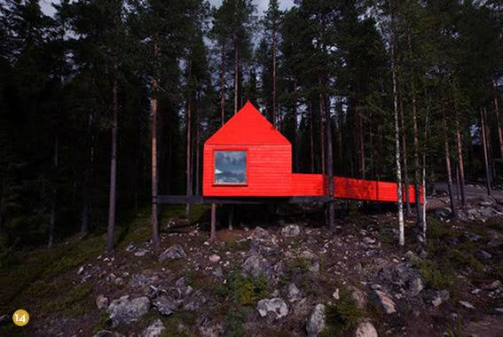 A floating red cabin.