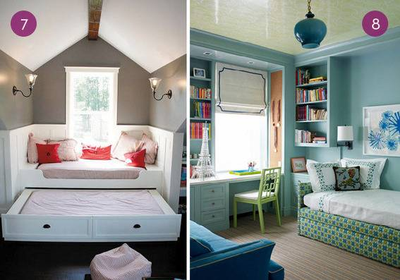 A trundle bed in the attic with pink throw pillows, and a blue and green office with an extra bed.
