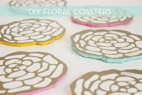 diy floral coasters made from cork
