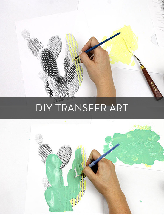 diy cactus transfer art