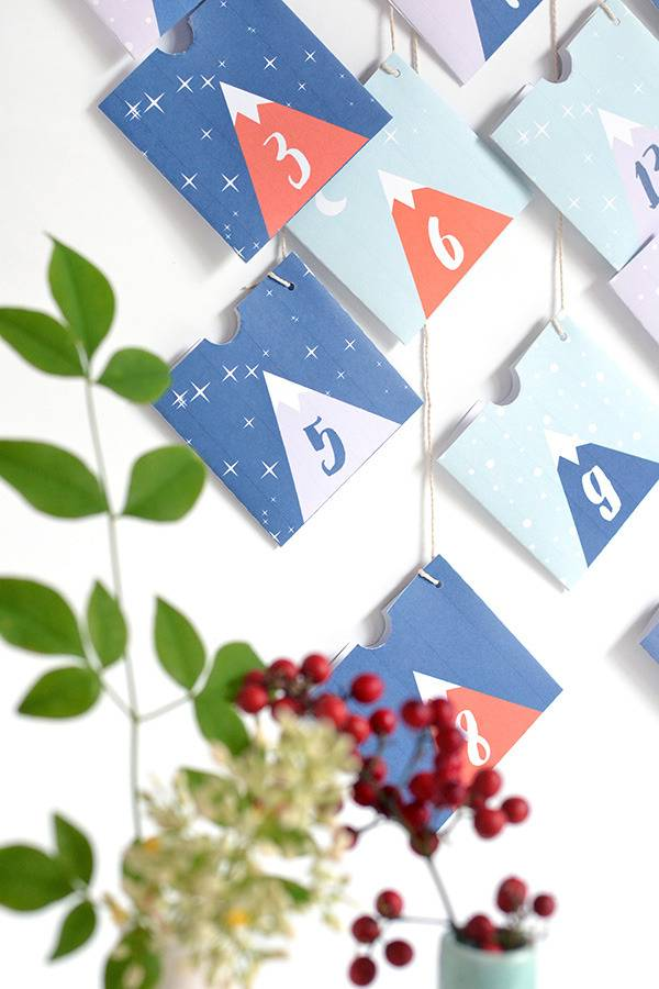 Printable mountain advent calendar
