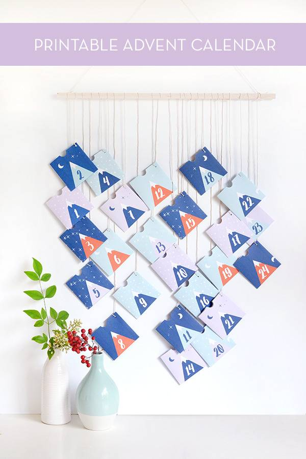 Paper printable advent calendar with mountains and stars