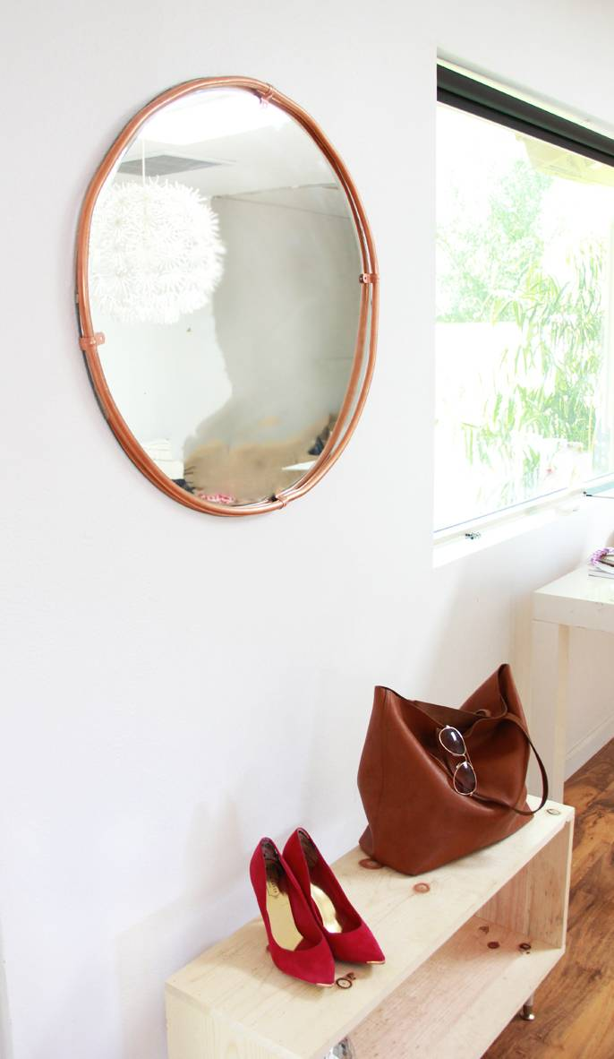 copper-wrapped mirror