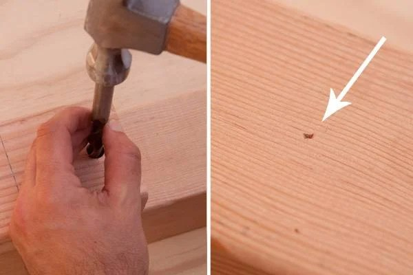 Transfering the hole location with a brad-point drill bit