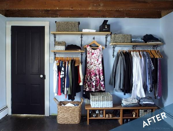 Before and After: A Daring Open Closet In The Bedroom