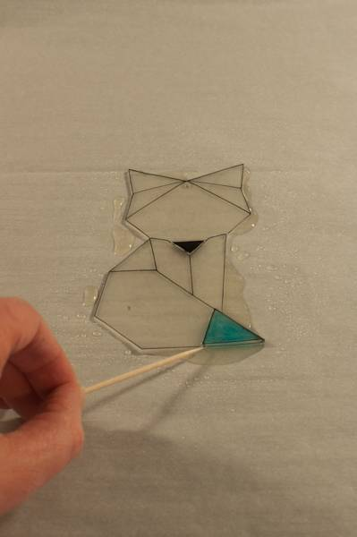 step 9 for faux fused glass geometric fox