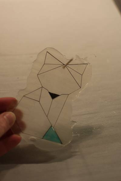 step 11 for faux fused glass geometric fox