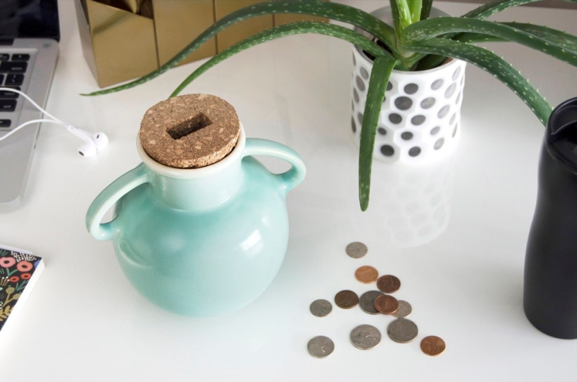 Transform any vase or jar into a coin bank.