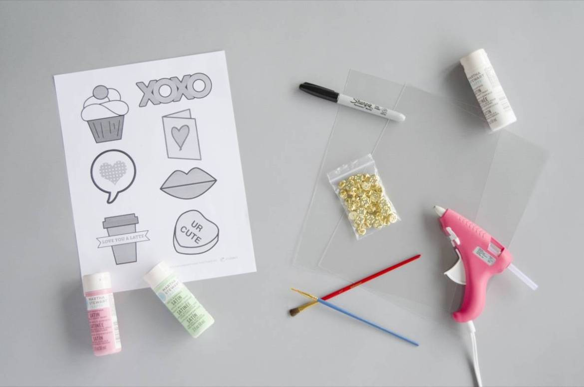 Materials needed to make Shrinky Dink pins