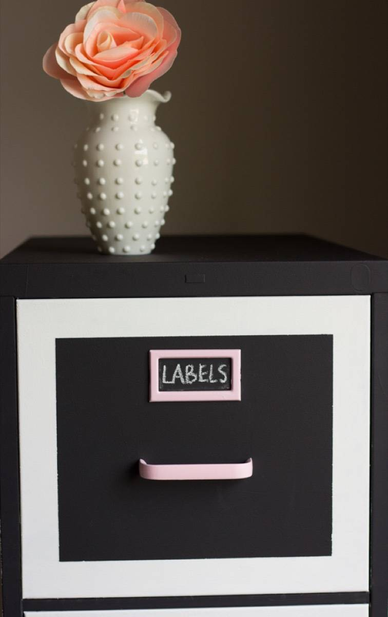 Chalkboard paint makes it easy to label and re-label file drawers | 72 Organization Tips and Projects for Every Space in Your Home