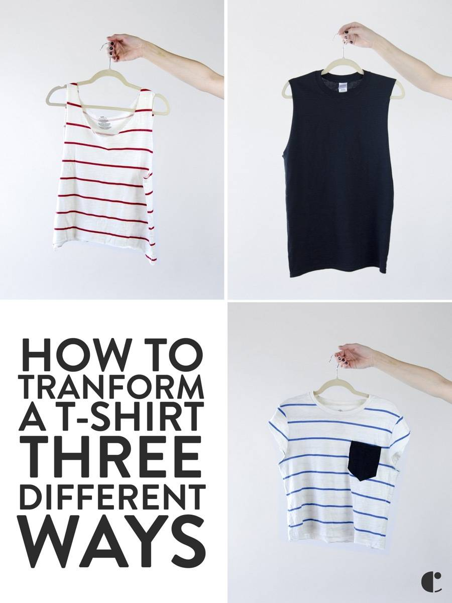 T-Shirt DIY Ideas: How to transform a t-shirt three different ways using scissors and sewing