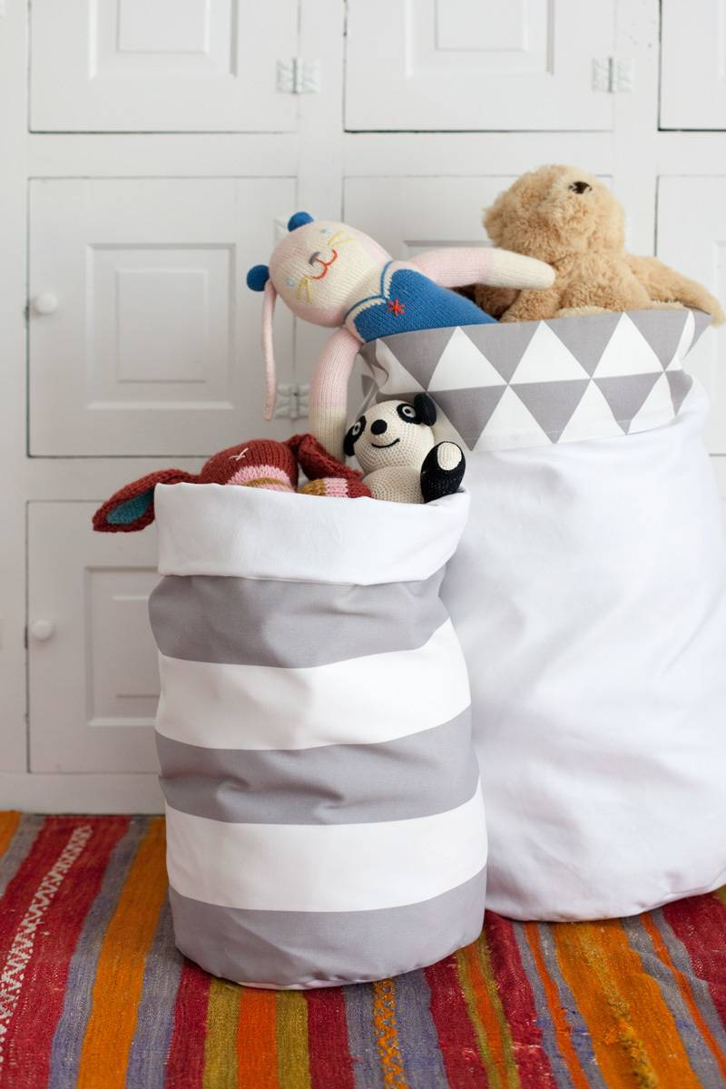 Storage solution from A Beautiful Mess | 75 DIY Kids Decor Ideas