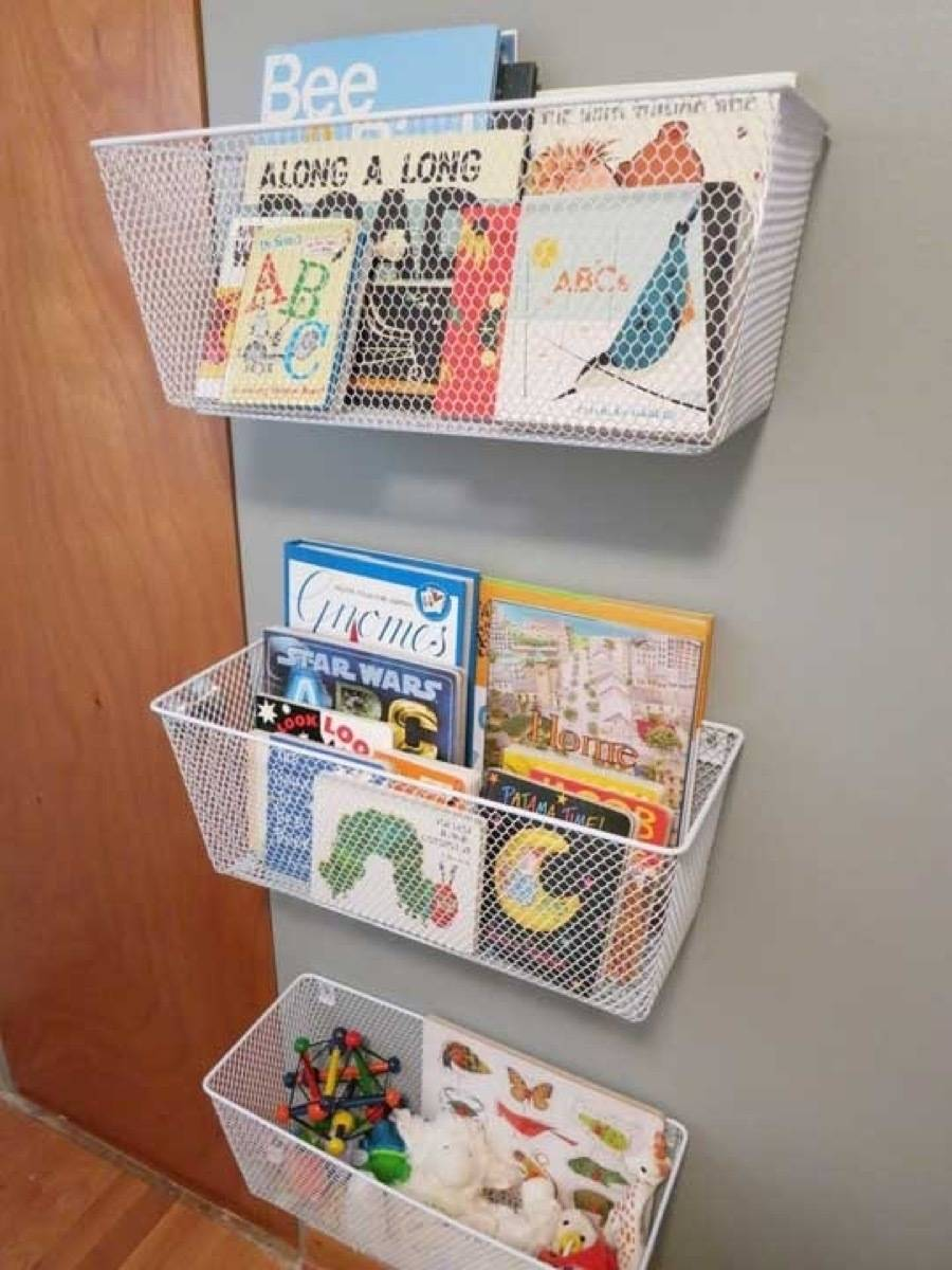 Storage solution from Apartment Therapy | 75 DIY Kids Decor Ideas