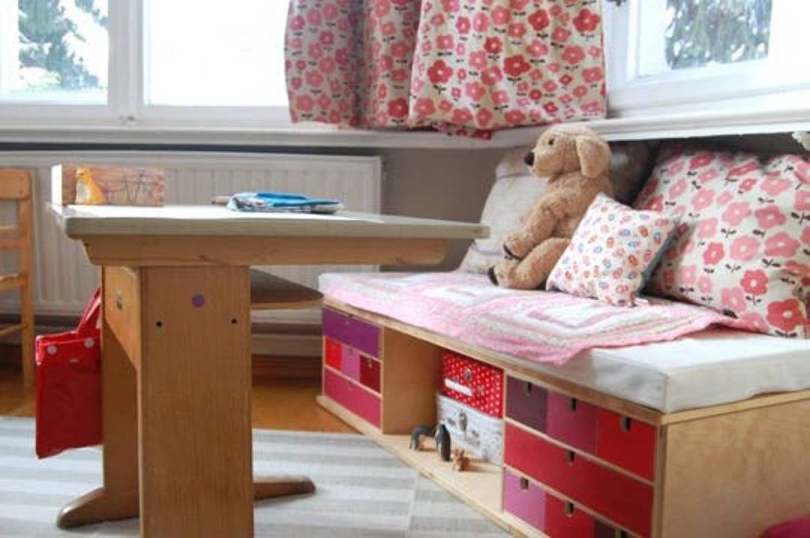 Storage idea from Apartment Therapy | 75 DIY Kids Decor Ideas
