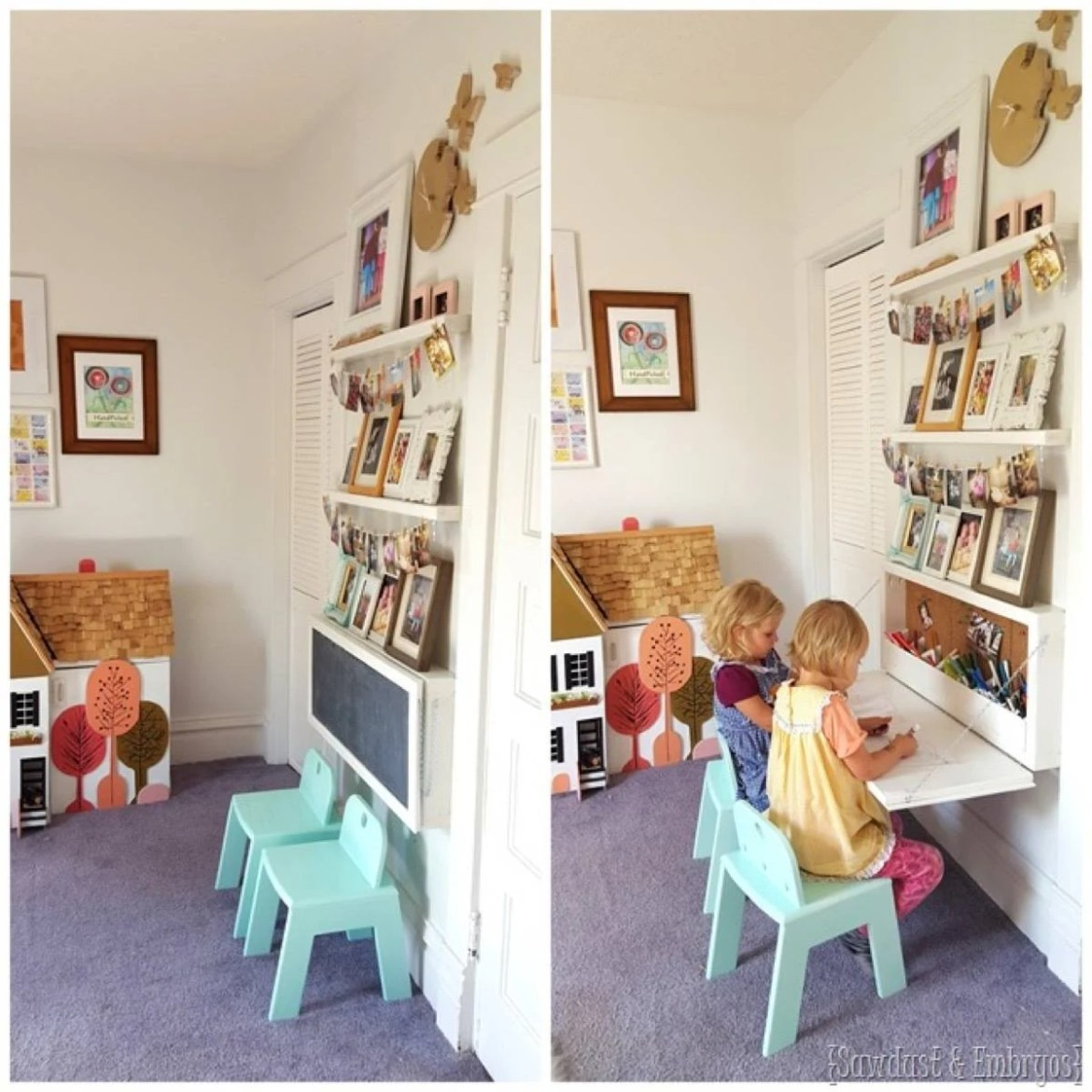 Desk idea from Reality Daydream | 75 DIY Kids Decor Ideas