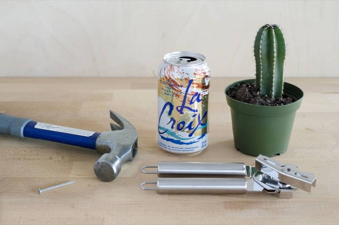 What you'll need to make La Croix planters from recycled cans