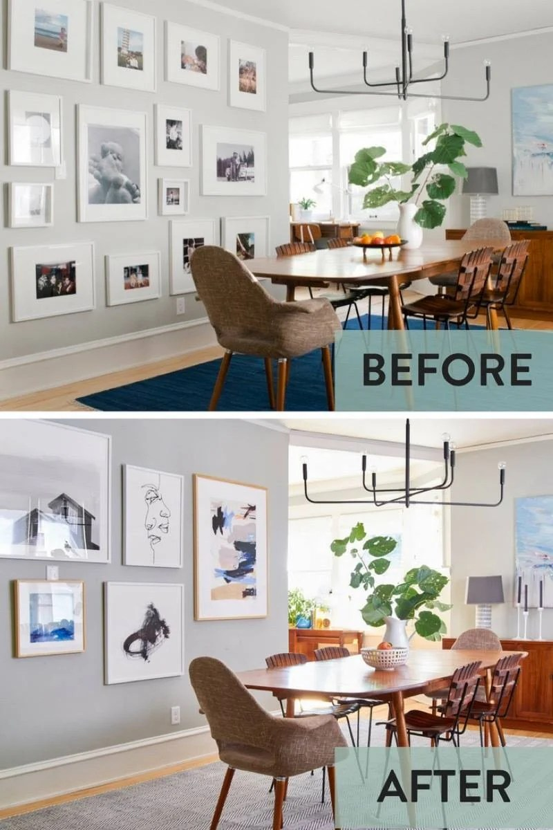Curbly dining room gallery wall makeover - before and after - wall art