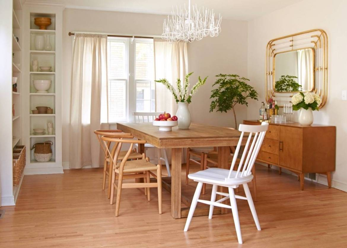 Curbly House dining room makeover - art deco mirror, buffet, wishbone chairs