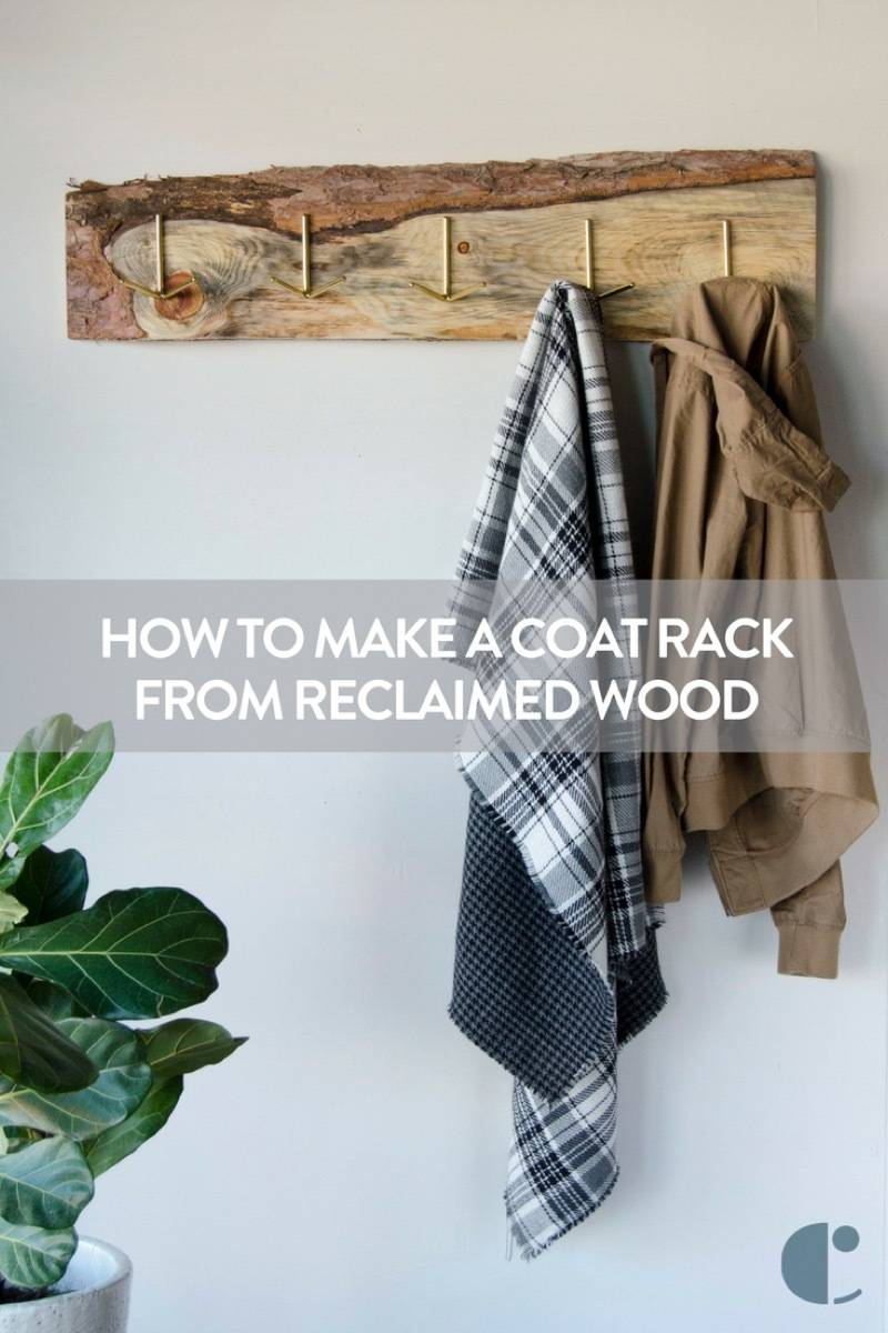 How to transform found wood into a gorgeous, rustic wall-mounted coat rack