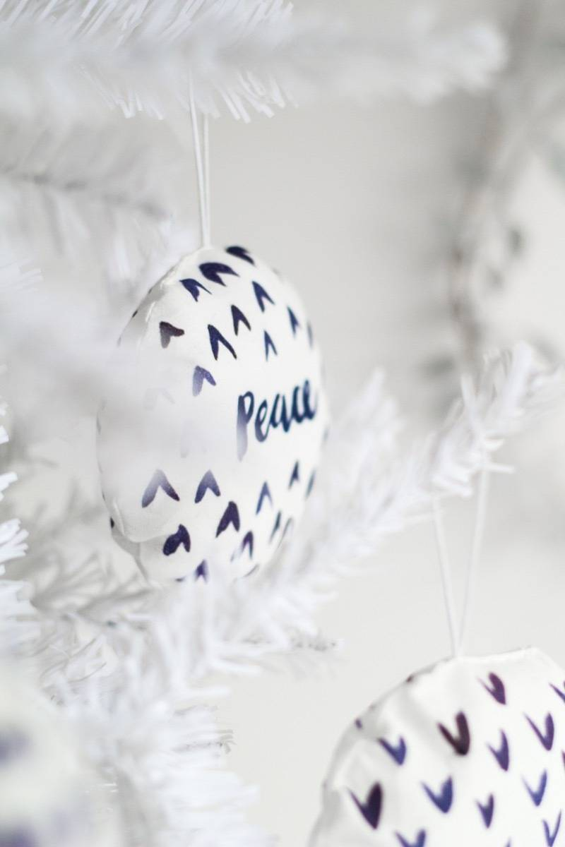Watercolor fabric baubles