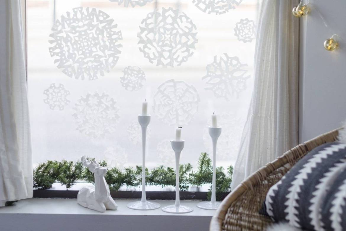Create a snowscape with shelf liner