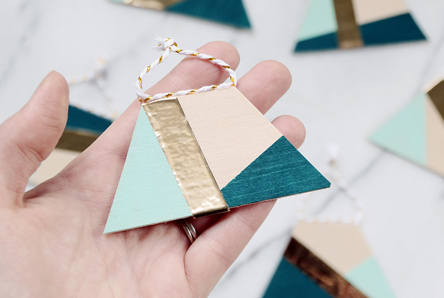 Abstract color-blocked ornaments