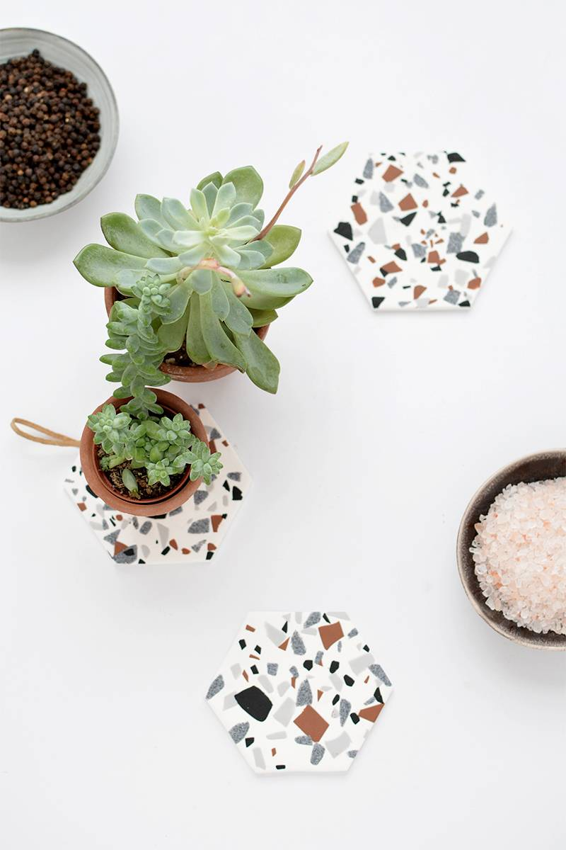 DIY Mother's Day Gift Ideas: Terrazzo coasters