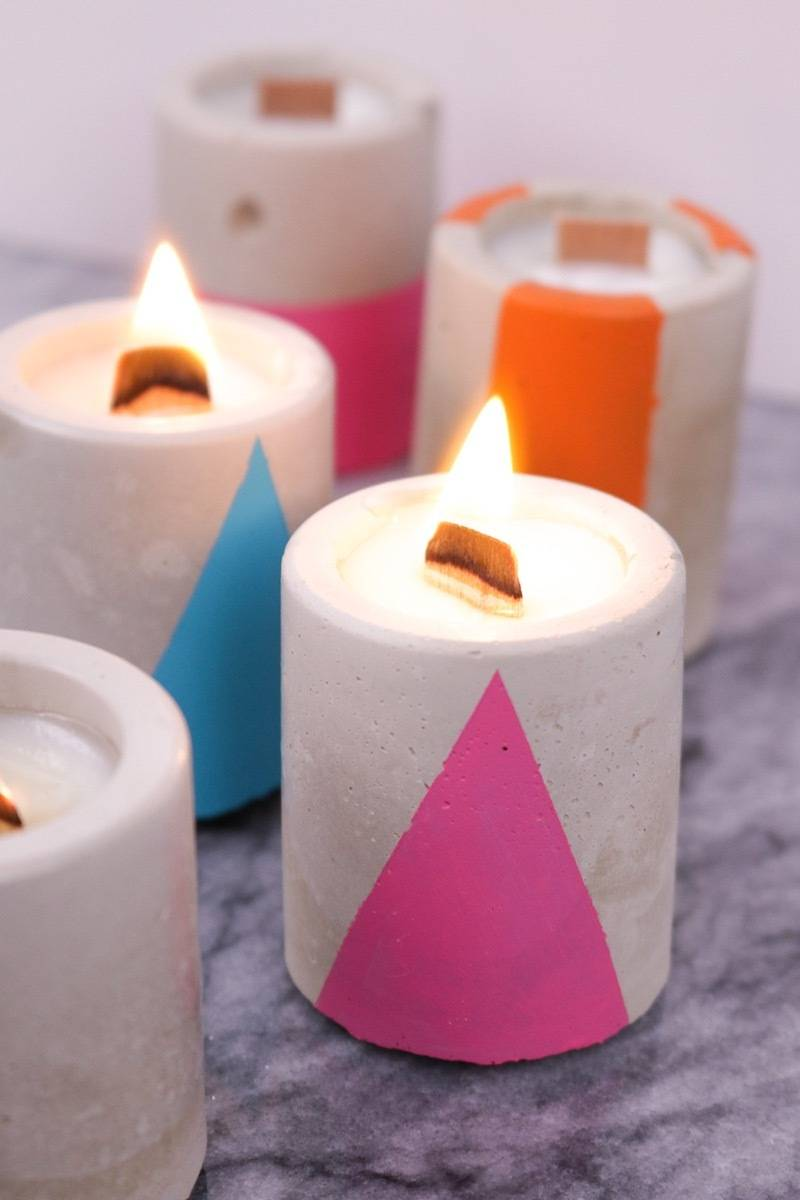 DIY Mother's Day Gift Ideas: Concrete candles