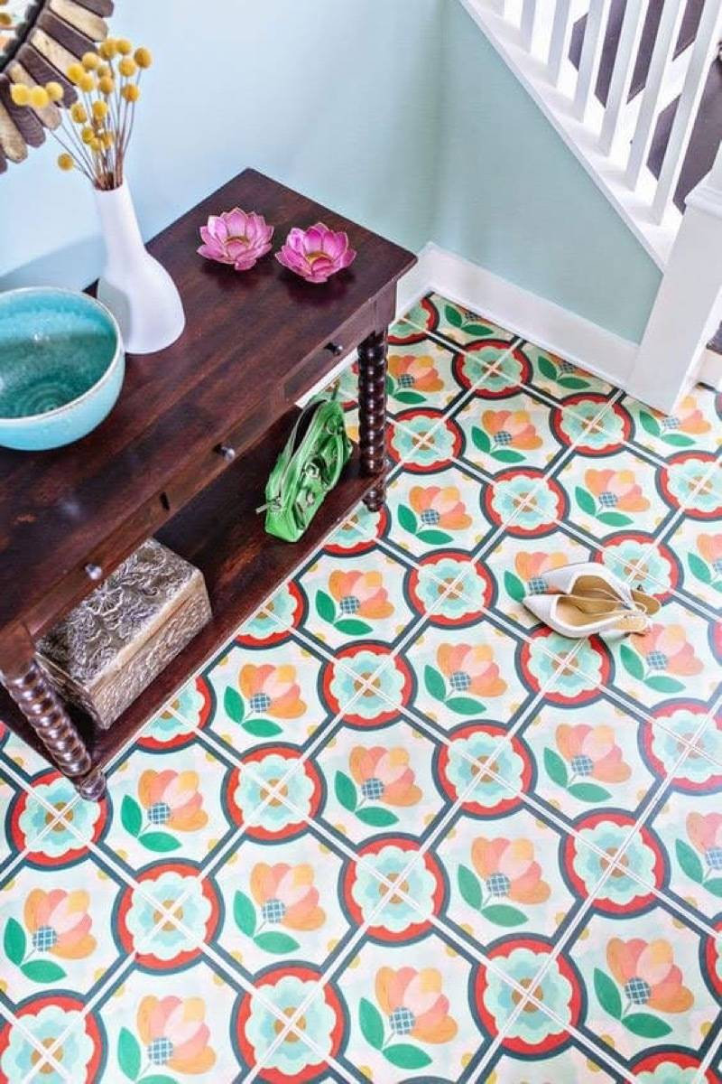 Removable floor tiles