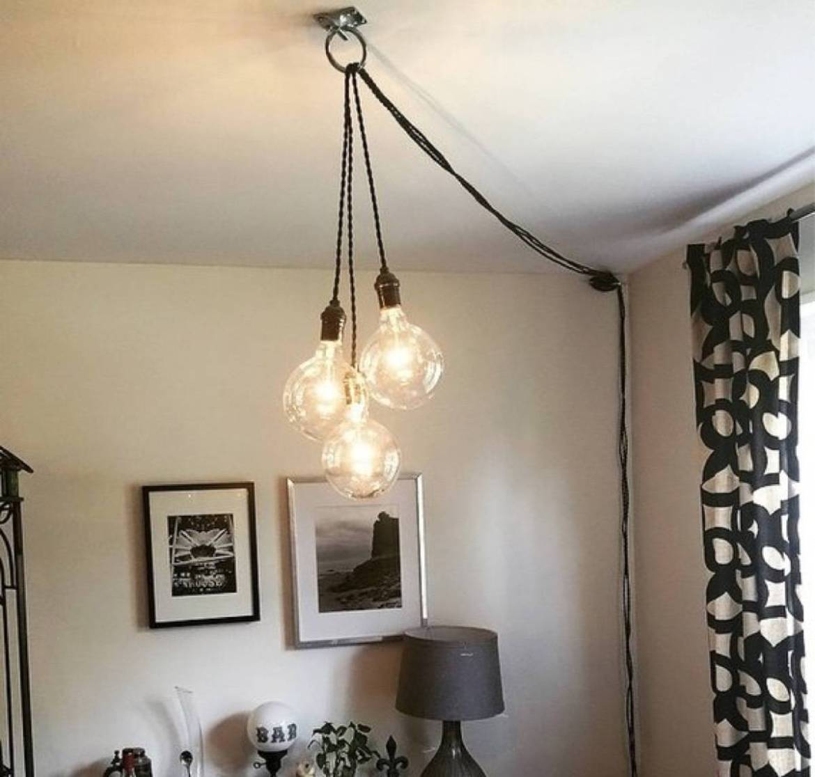 Group of hanging lights that plug directly into wall
