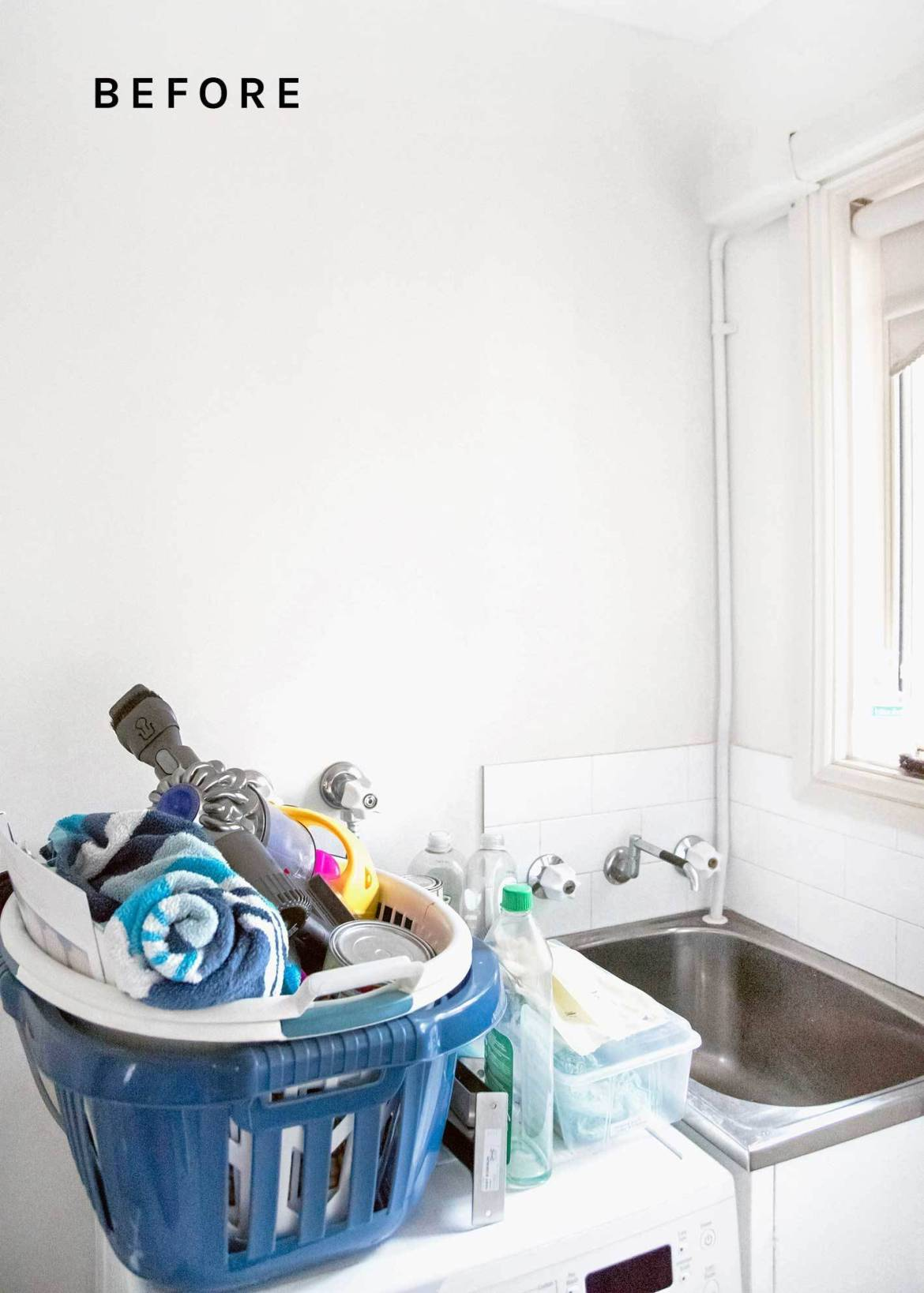 Before we applied laundry room storage ideas to our cluttered utility room