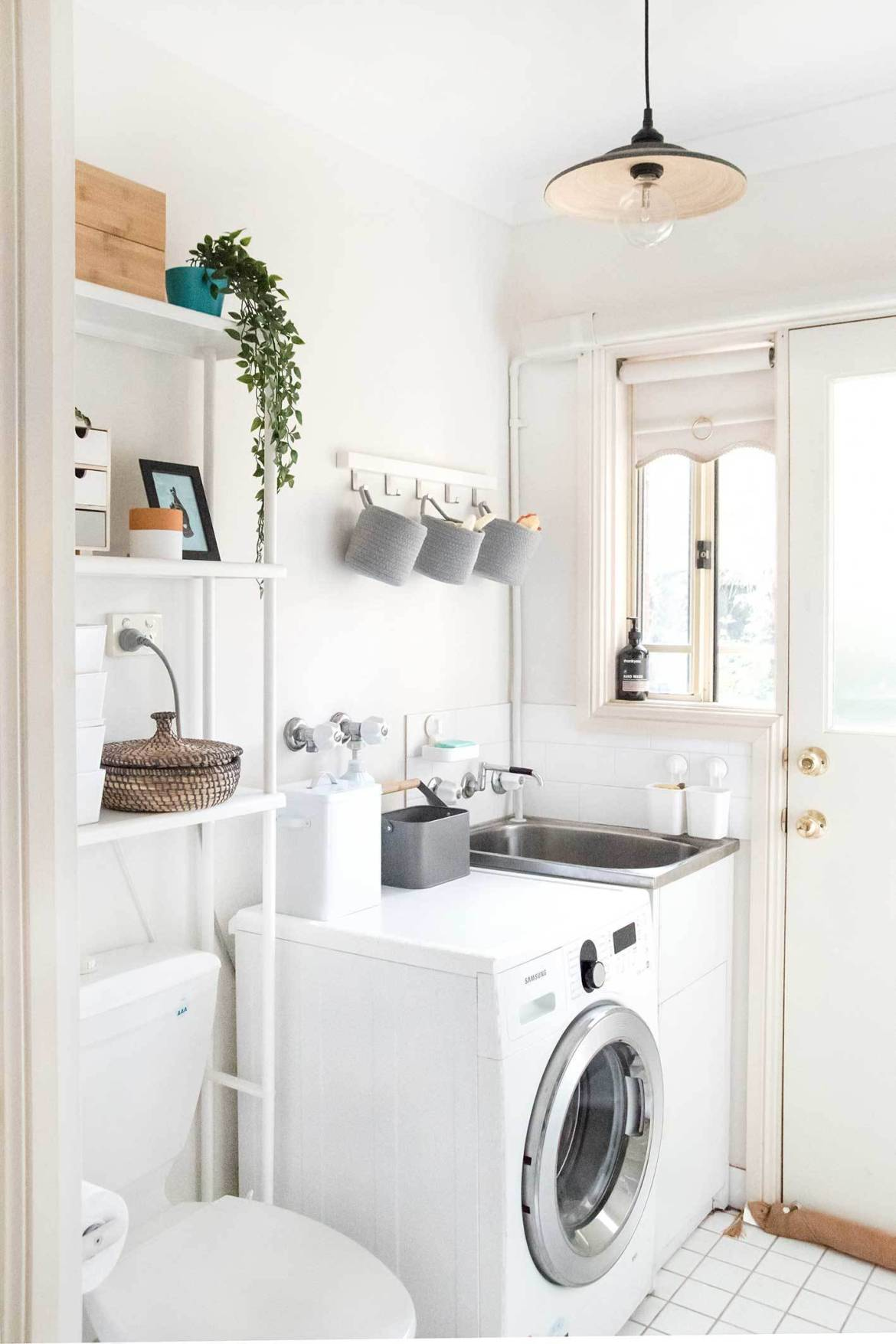 After we applied some easy laundry room storage ideas!