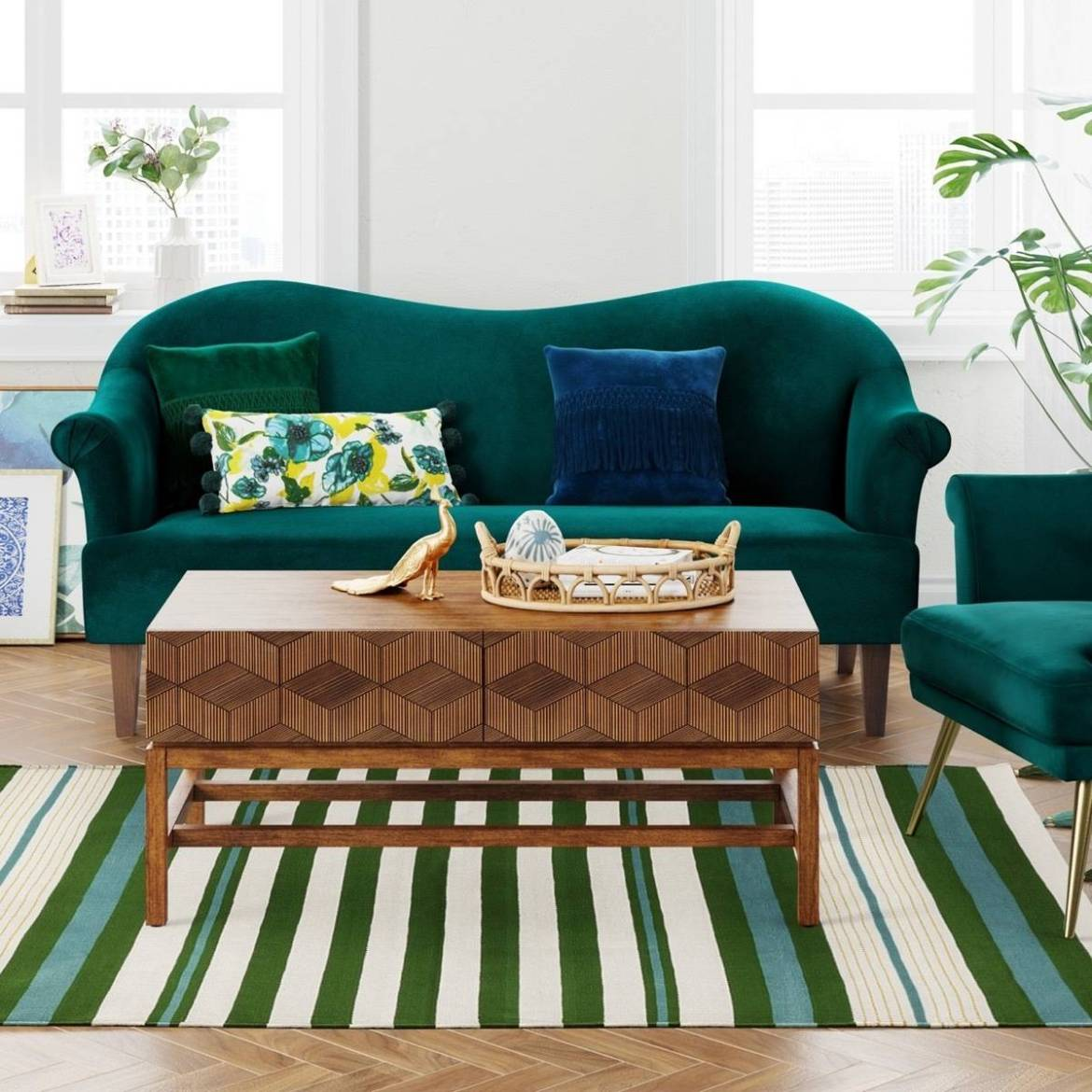 Teal green striped rug from Target