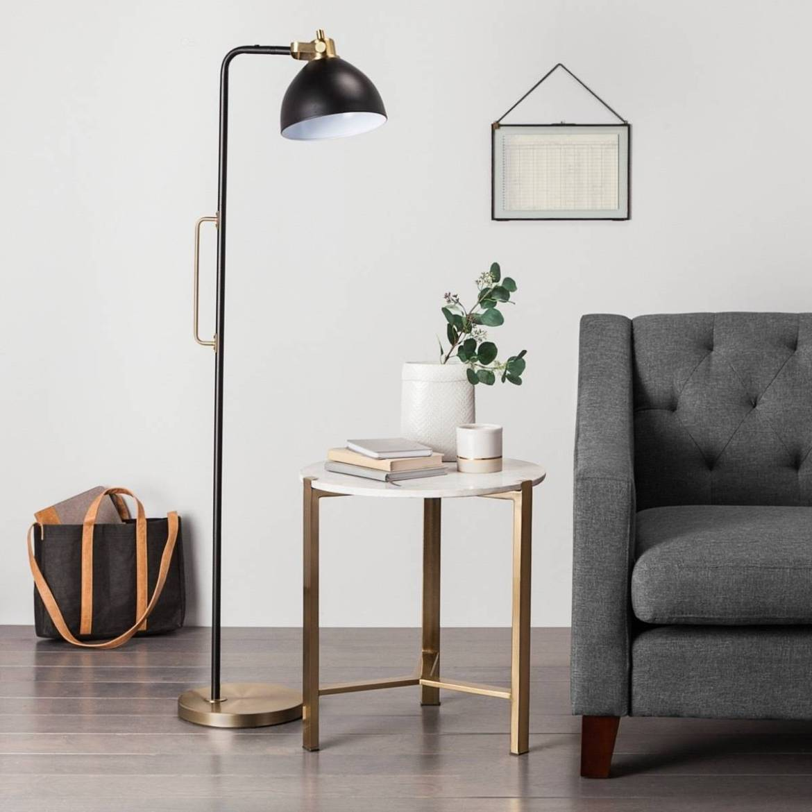 Black and brass floor lamp from Target