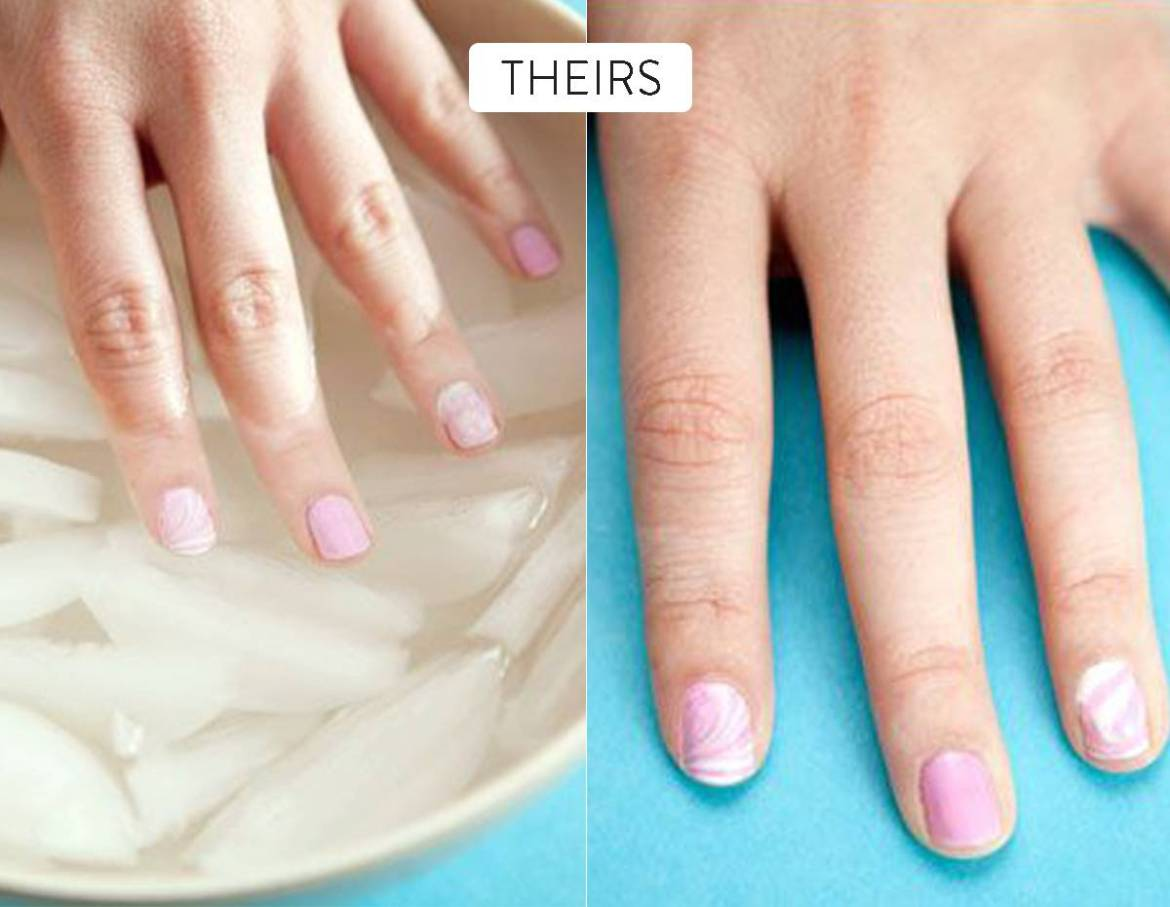 Put freshly polished nails into ice water to dry faster