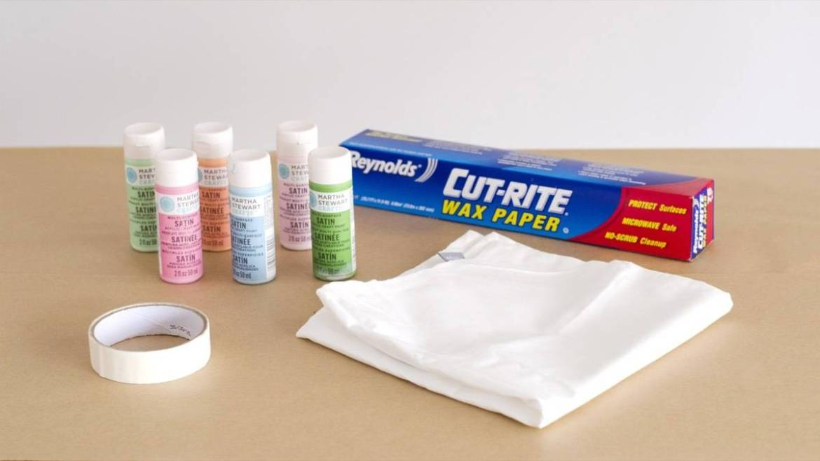 Materials needed for ink blot pillows