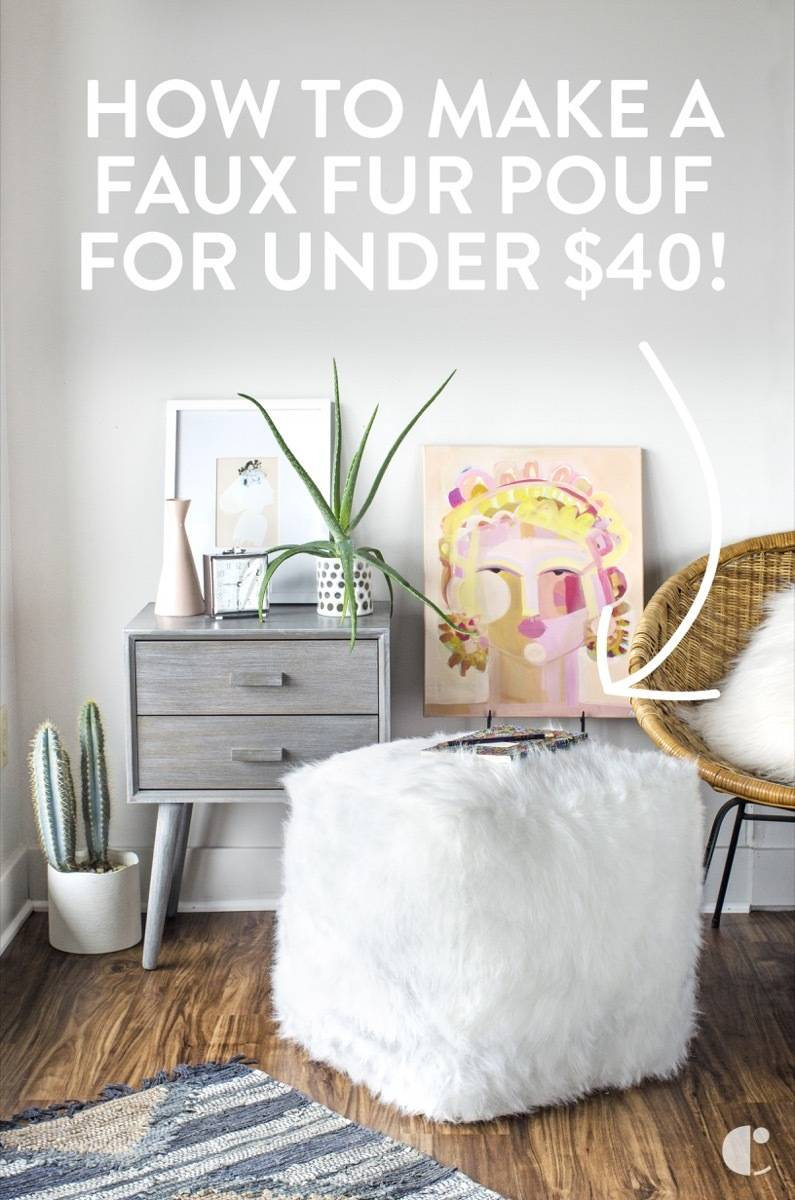 How to make a faux fur ottoman for under $40